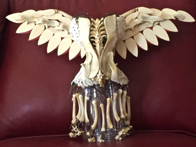 """Winged Victory - chicken bones, wood & doilies on wire, 12""""x 18""""x12"""""""